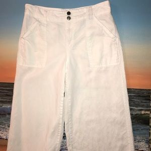 Anthropologie Pants Cropped Wide Leg White size 28